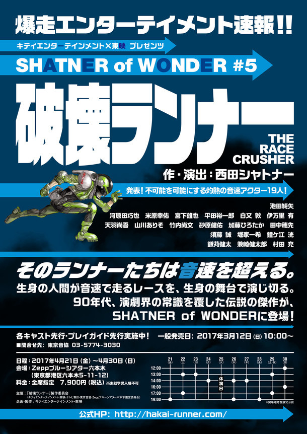 キティエンターテインメント × 東映 プレゼンツ SHATNER of WONDER #5「破壊ランナー」チラシ