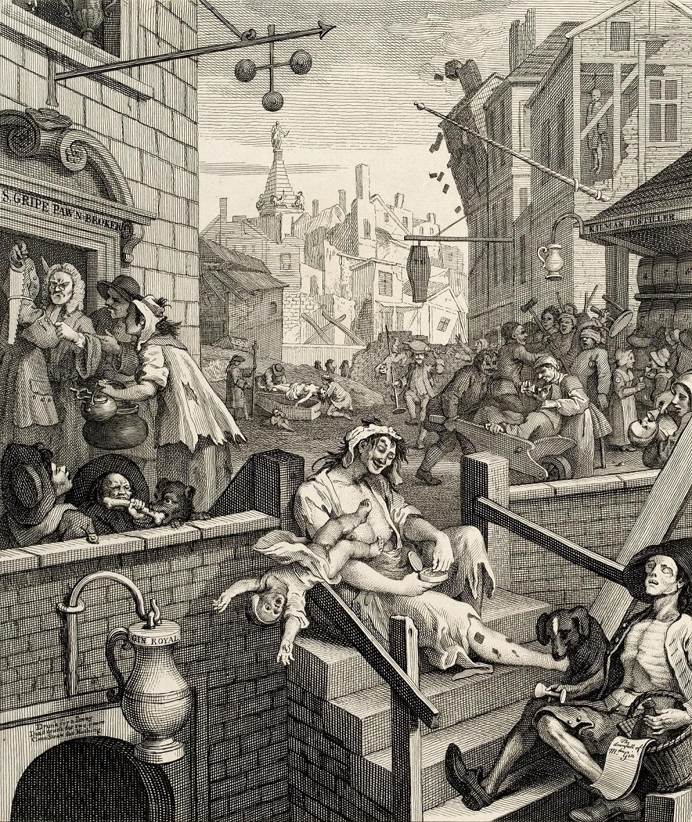 ウィリアム・ホガース 『ビール街とジン横丁』より《ジン横丁》 1750-51年 エッチング、エングレーヴィング・紙 郡山市立美術館蔵 Koriyama City Museum of Art