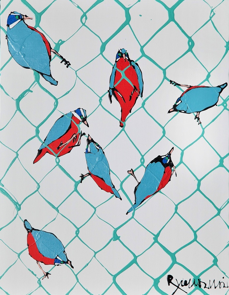 福田画廊 7 Small birds perched on green net fence 2017 今井 龍満