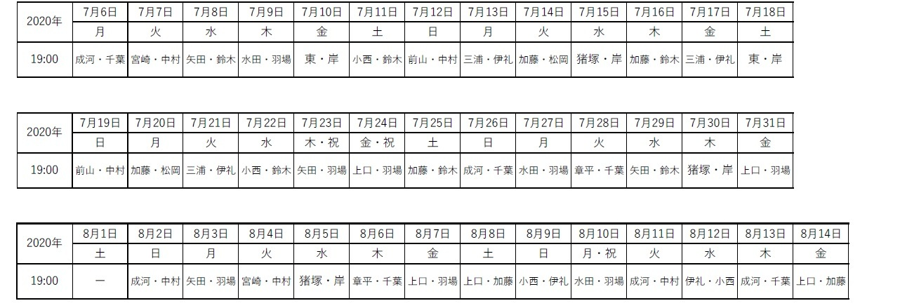 VR配信日程/キャスト出演日