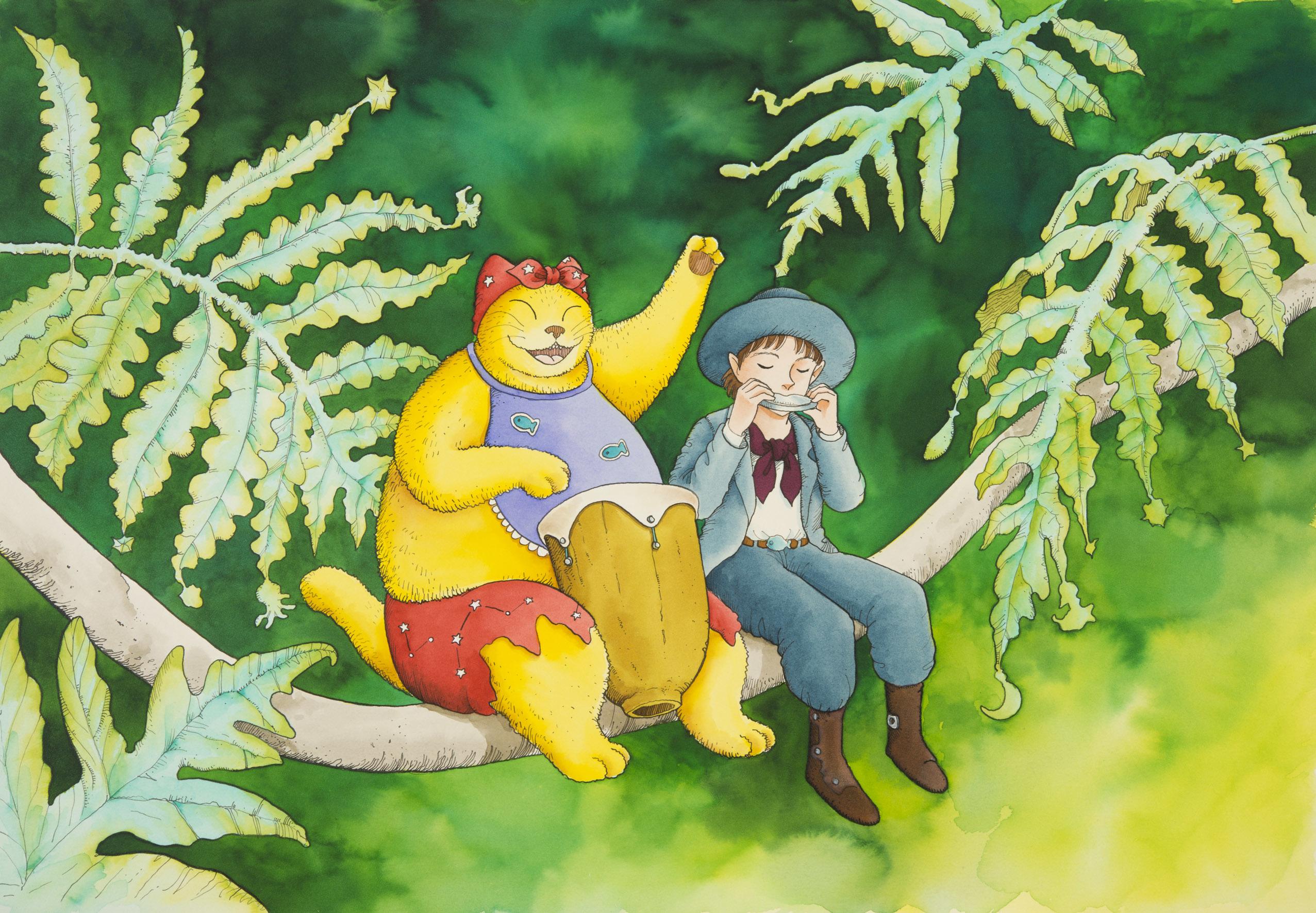 ますむらひろし《森に聴かせてる》1993年発表 (C)ますむら・ひろし