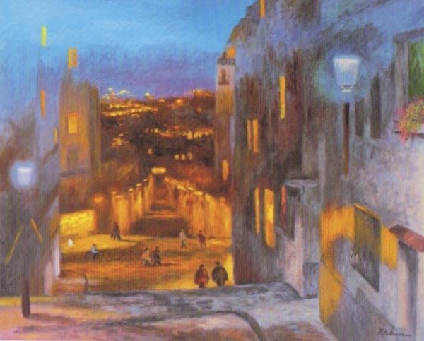 二口さんは風景画の中でも、夜の街を描くことが多いという