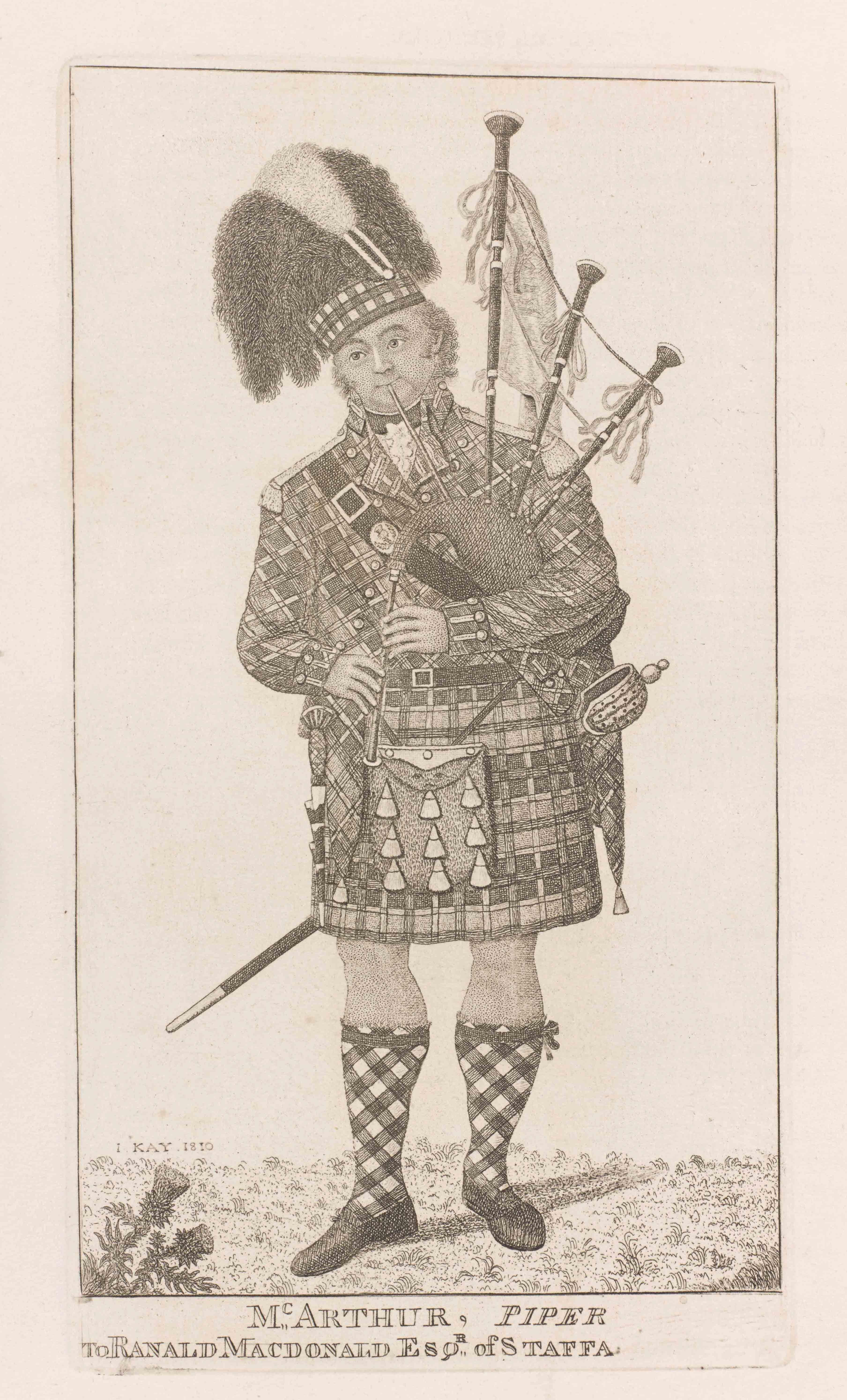 ジョン・ケイ 《バグパイパー アーチボルド・マッカーサー》 1810年 京都ノートルダム女子大学 図書館情報センター蔵
