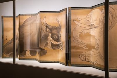 長沢 芦雪 《白象黒牛図屏風》 紙本墨画 六曲一双 各155.3×359.0cm 米国・エツコ&ジョー・プライスコレクション