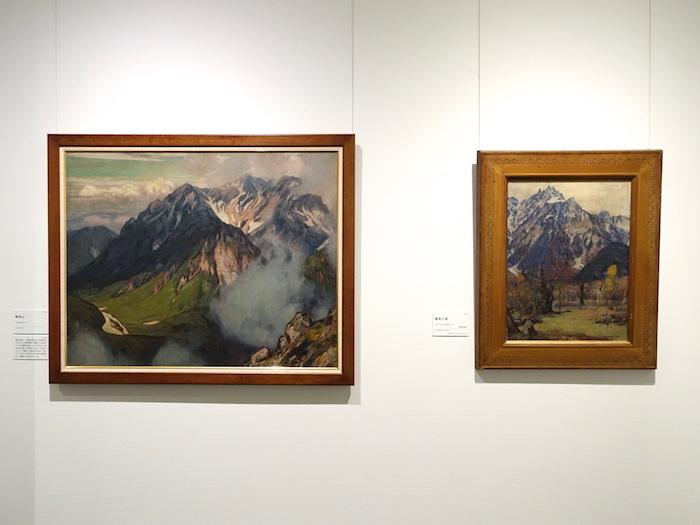 左から《穂高山》大正期 個人蔵、《穂高の春》大正4年 福岡県立美術館