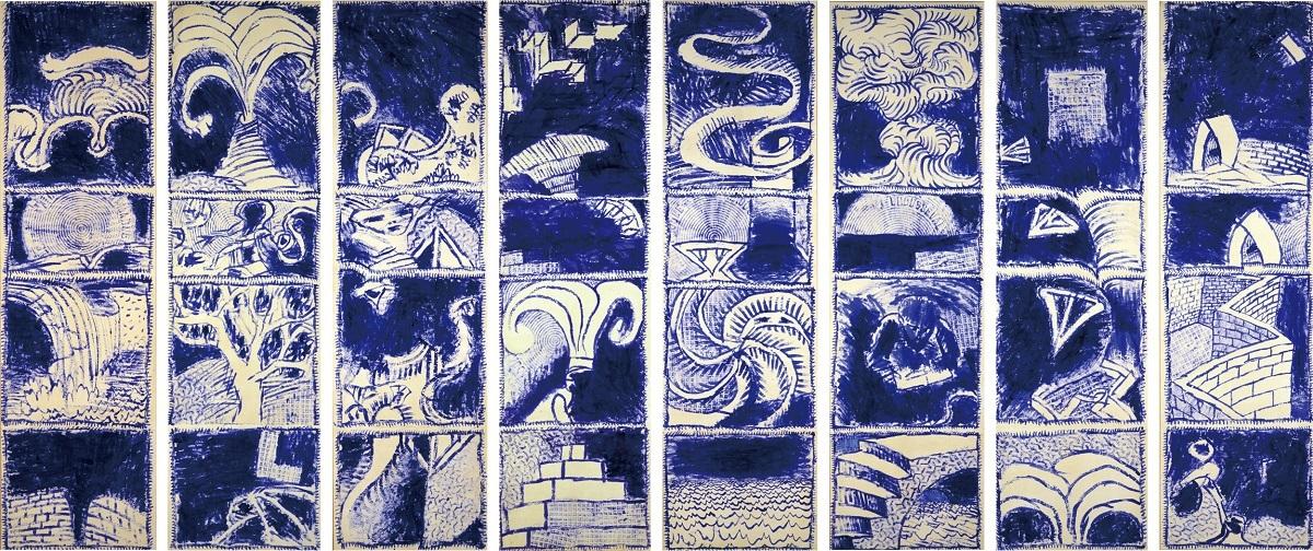 《ボキャブラリー Ⅰ-Ⅷ》 1986年 アクリル絵具、キャンバスで裏打ちした紙 作家蔵 (C)Pierre Alechinsky, 2016