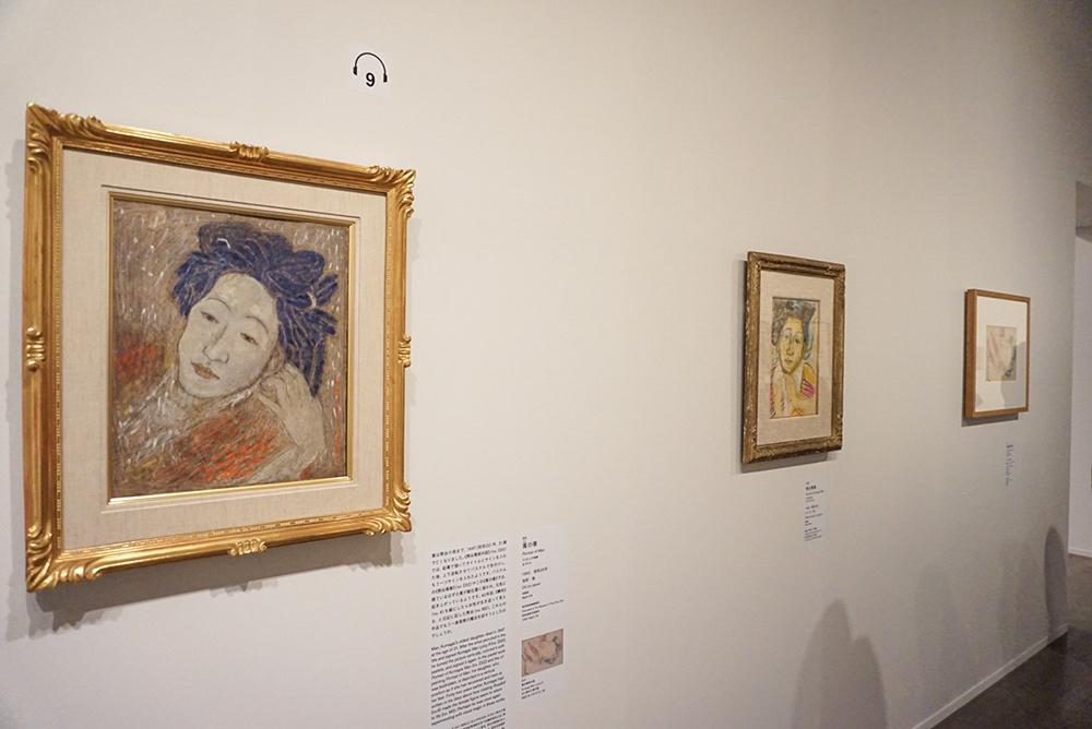 左手前から:《萬の像》 1950年 岐阜県美術館寄託 《熊谷萬像》 1948年 豊島区立熊谷守一美術館