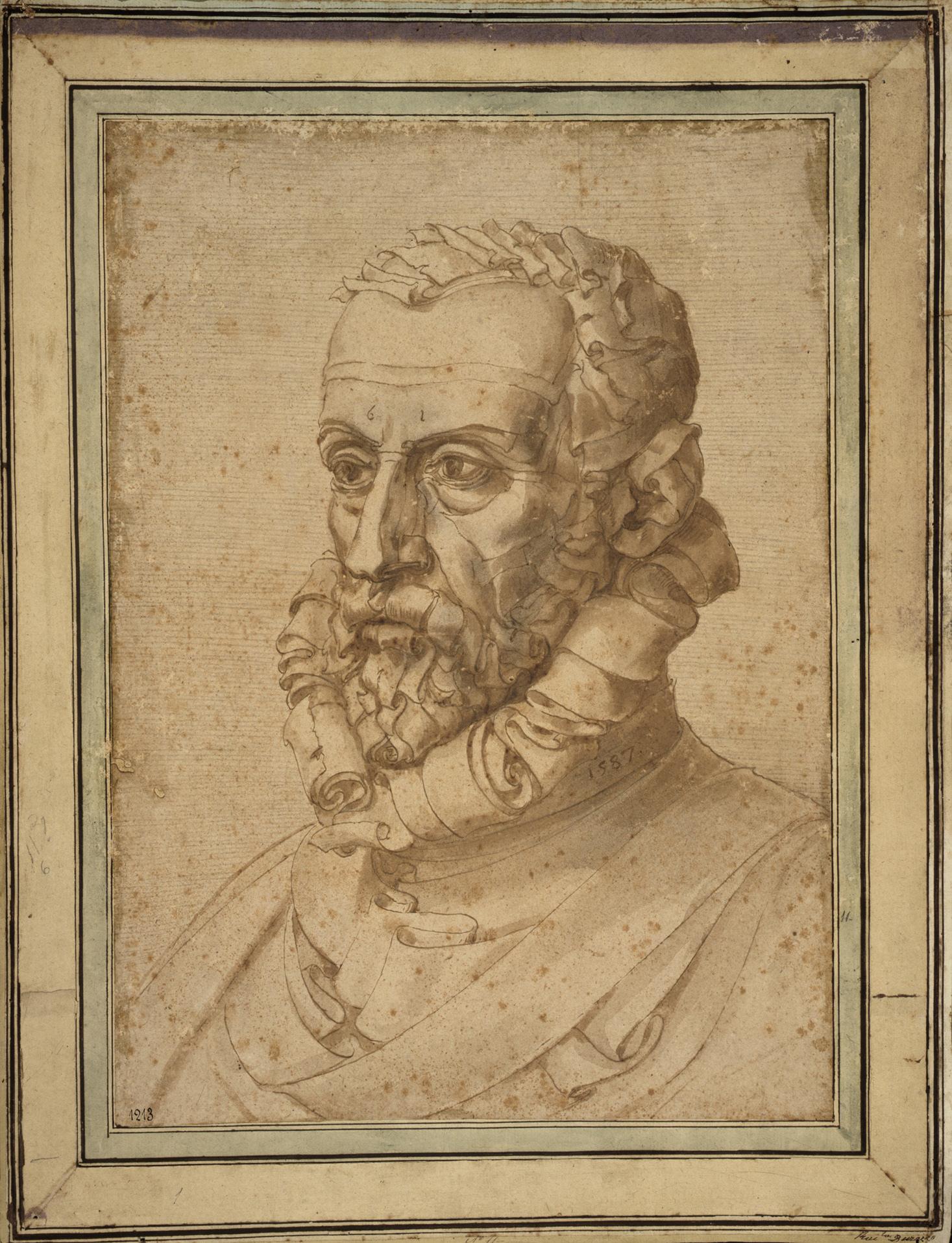 ジュゼッペ・アルチンボルド《自画像(紙の男)》 1587年 鉛筆、ペン/紙 ジェノヴァ、ストラーダ・ヌオーヴァ美術館ロッソ宮蔵