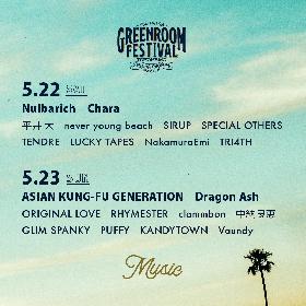 『GREENROOM FESTIVAL'21』アジカン、Dragon Ash、Charaら第2弾出演アーティスト&⽇割りを発表