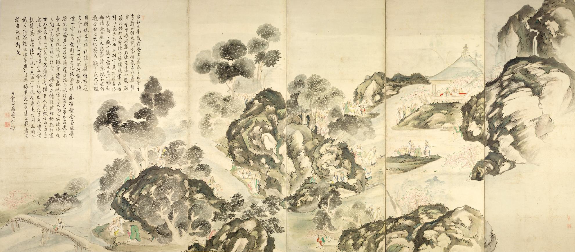 蘭亭曲水・龍山勝会図屏風(右隻) 静岡県立美術館