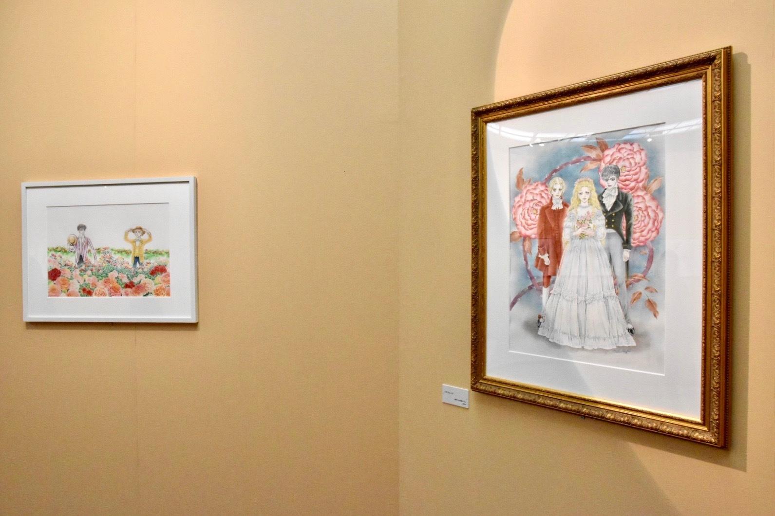 右の作品は本展のための描き下ろしイラスト (C)萩尾望都/小学館