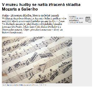 モーツァルトとサリエリの共作曲が発見 16日に現地で記者会見