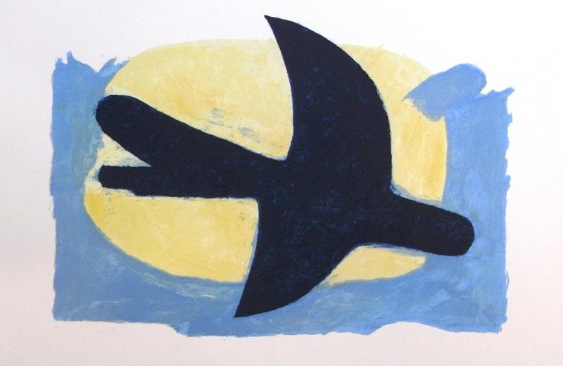 ブラック「靑と黄の鳥」1960/リトグラフ/サイン有/ED.75