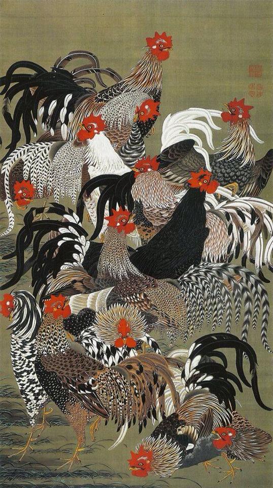 『動植綵絵』の内「群鶏図」伊藤若冲作 1757年~1766年頃 宮内庁三の丸尚蔵館保管 出典=ウィキメディア・コモンズ (Wikimedia Commons)
