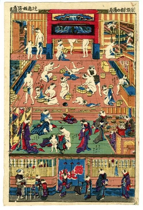 歌川芳藤「新板猫の湯屋」