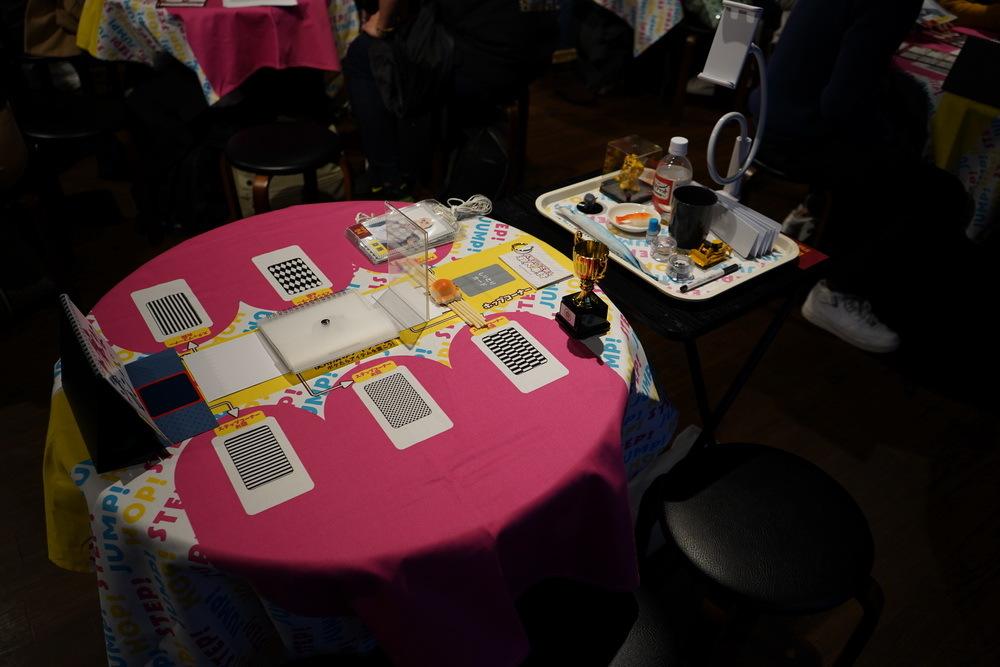 各チームのテーブルの上には番組で使われたいろいろなアイテムが置かれている