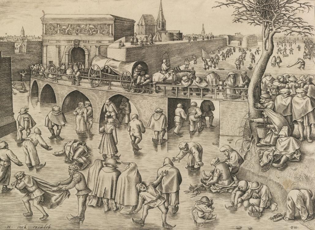 ピーテル・ブリューゲル1世(下絵)/ フランス・ハイス(版刻)アントワープの聖ゲオルギウス門前のスケート滑り1558年頃エングレーヴィングMuseum BVB, Rotterdam, Netherlands