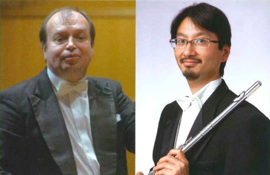 指揮のレオシュ・スワロフスキー(左)、フルート独奏の磯貝俊幸(右)