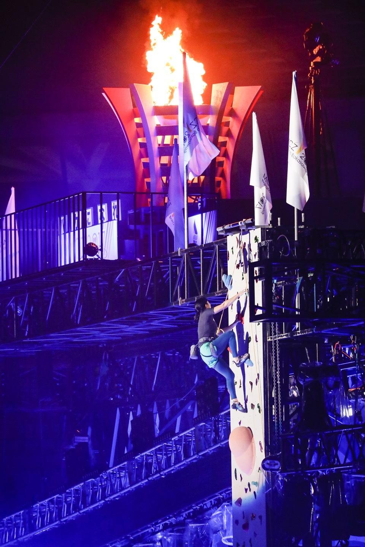 『ももクロ夏のバカ騒ぎ2017 -FIVE THE COLOR Road to 2020- 味の素スタジアム大会会場』1日目スポーツクライミング Photo by HAJIME KAMIIISAKA+Z