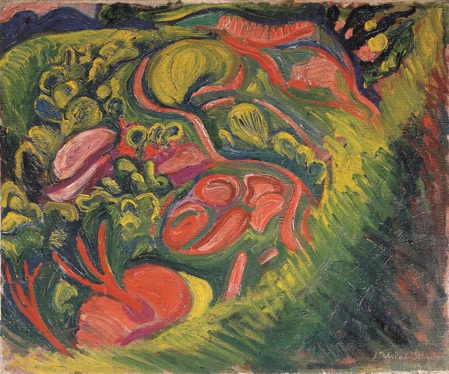 《かなきり声の風景》1918年 油彩、画布 山形美術館寄託