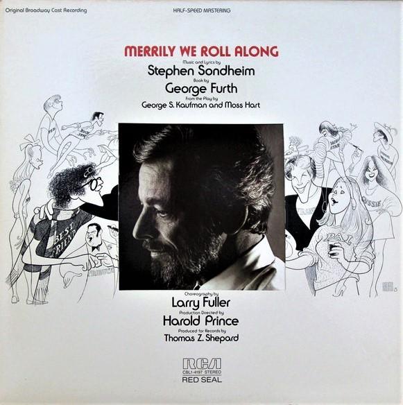 『メリリー』初演(1981年)のオリジナル・キャスト盤LP。下はレコードを収納するスリーブ(内袋)で、舞台写真を絡めてある。