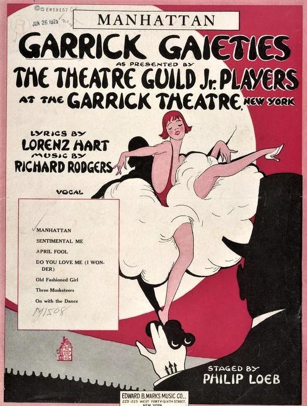 『ギャリック・ゲイエティーズ』(1925年)で歌われた〈マンハッタン〉の楽譜