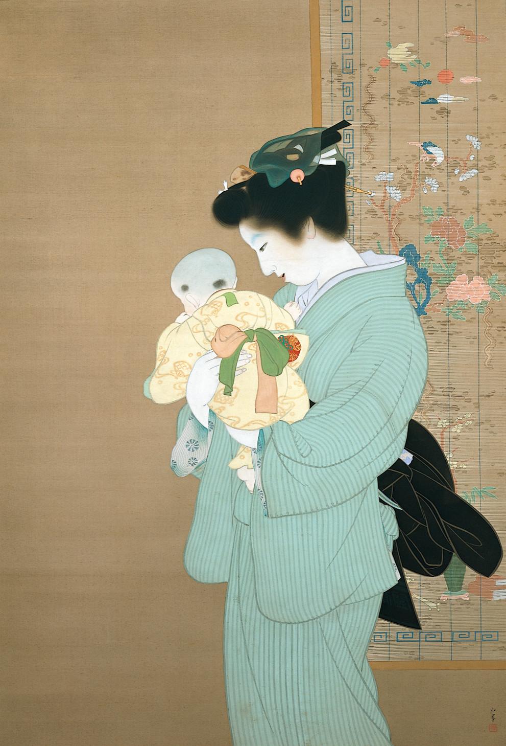 上村松園《母子》重要文化財 昭和9年(1934) 168.0×115.5 東京国立近代美術館蔵