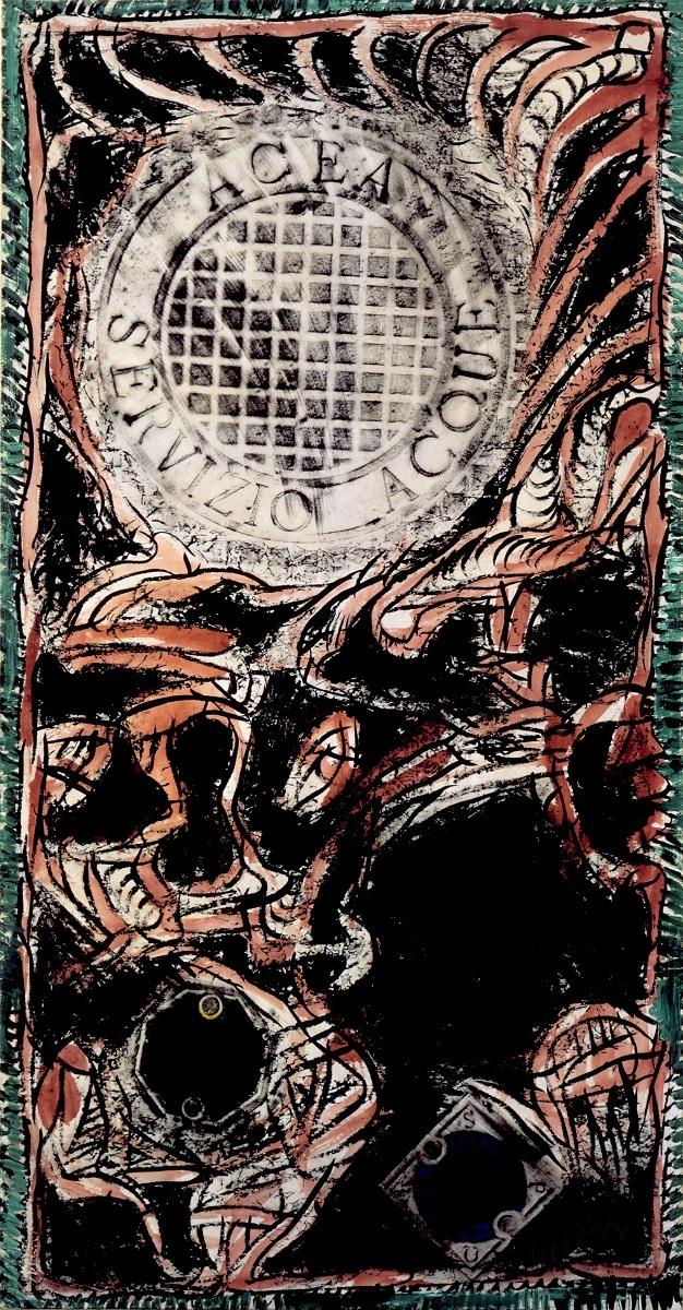 《ローマの網》 1989年 インク・アクリル絵具、拓本、キャンバスで裏打ちした紙 作家蔵 (C)Pierre Alechinsky, 2016