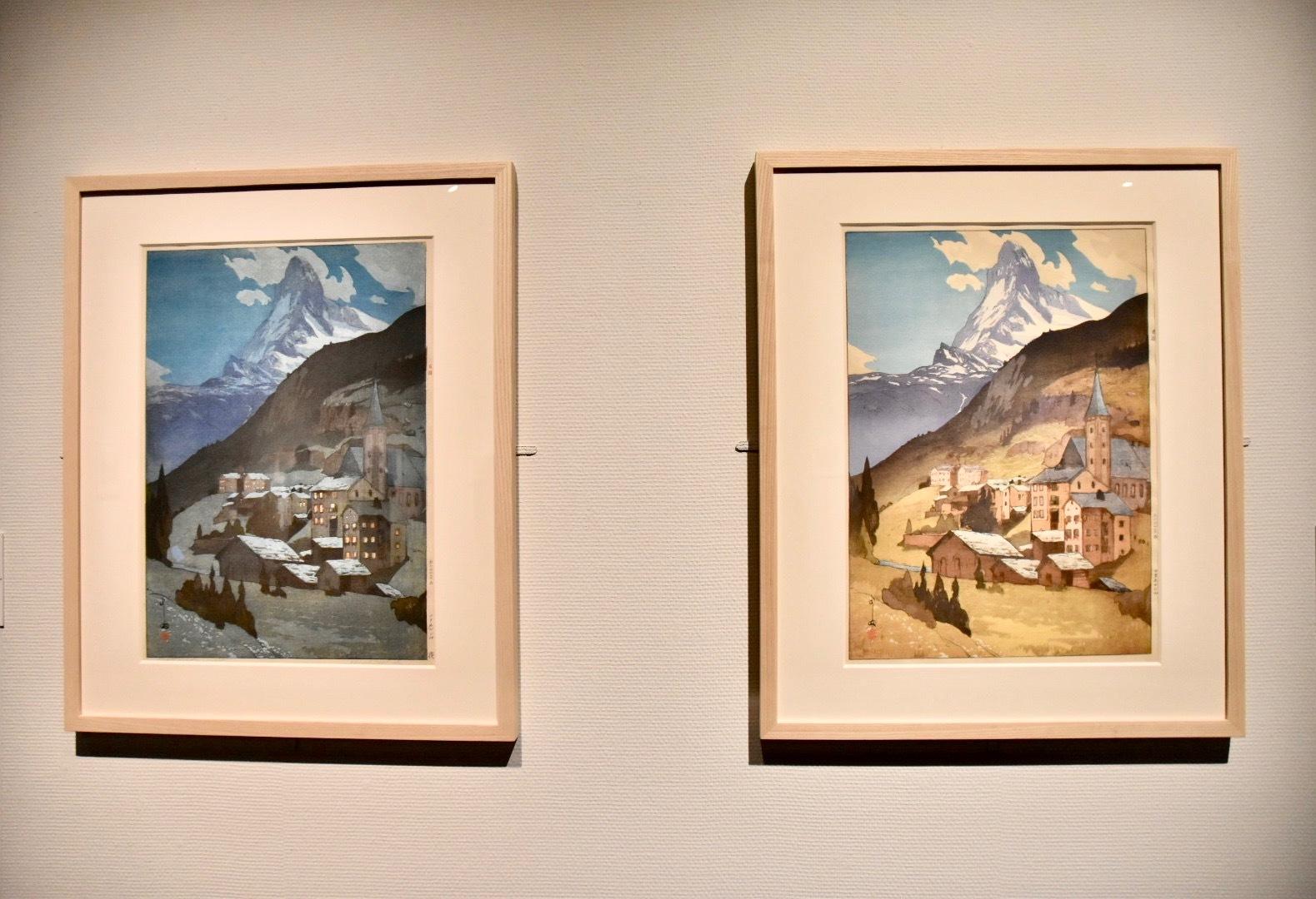 『欧州シリーズ』より 左:《マタホルン山 夜》1925年、右:《マタホルン山》1925年