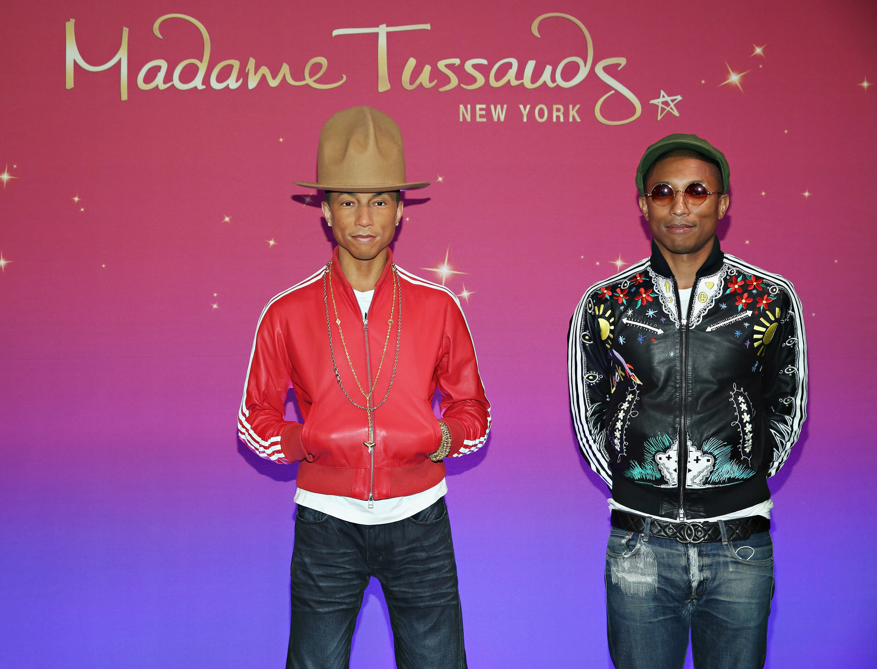 ファレル・ウィリアムス  The images shown depict wax figures created and owned by Madame Tussauds.