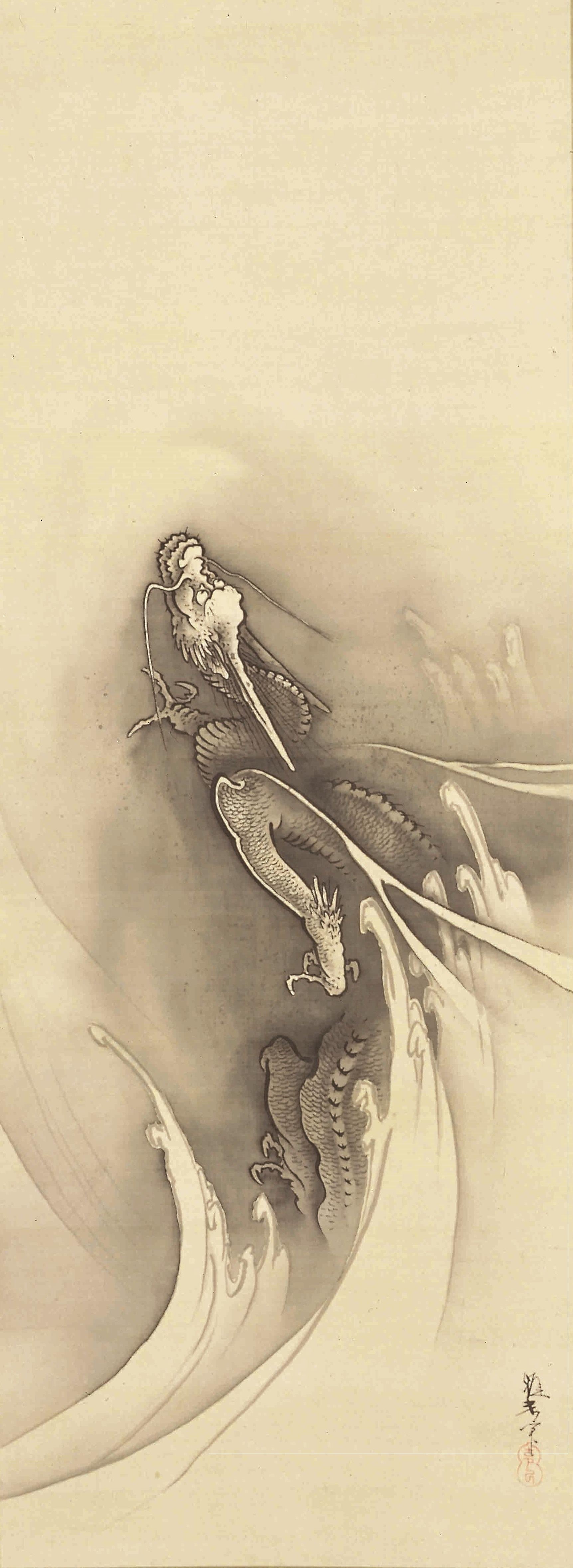 橋本雅邦筆 《昇龍図》 1幅 112.7×41.5cm 埼玉・山崎美術館蔵 【展示期間:3月28日~4月23日】
