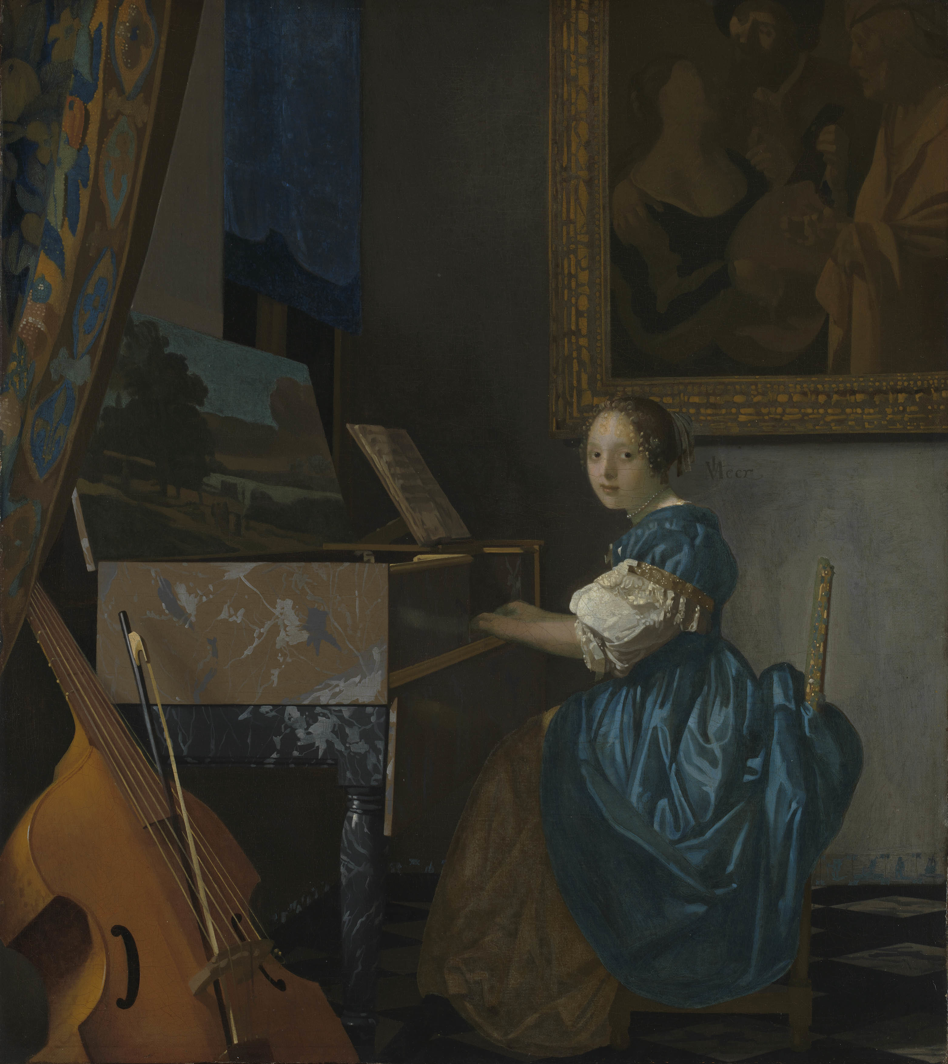 ヨハネス・フェルメール 《ヴァージナルの前に座る若い女性》 1670-72年頃 油彩・カンヴァス 51.5×45.5cm  (C)The National Gallery, London. Salting Bequest, 1910