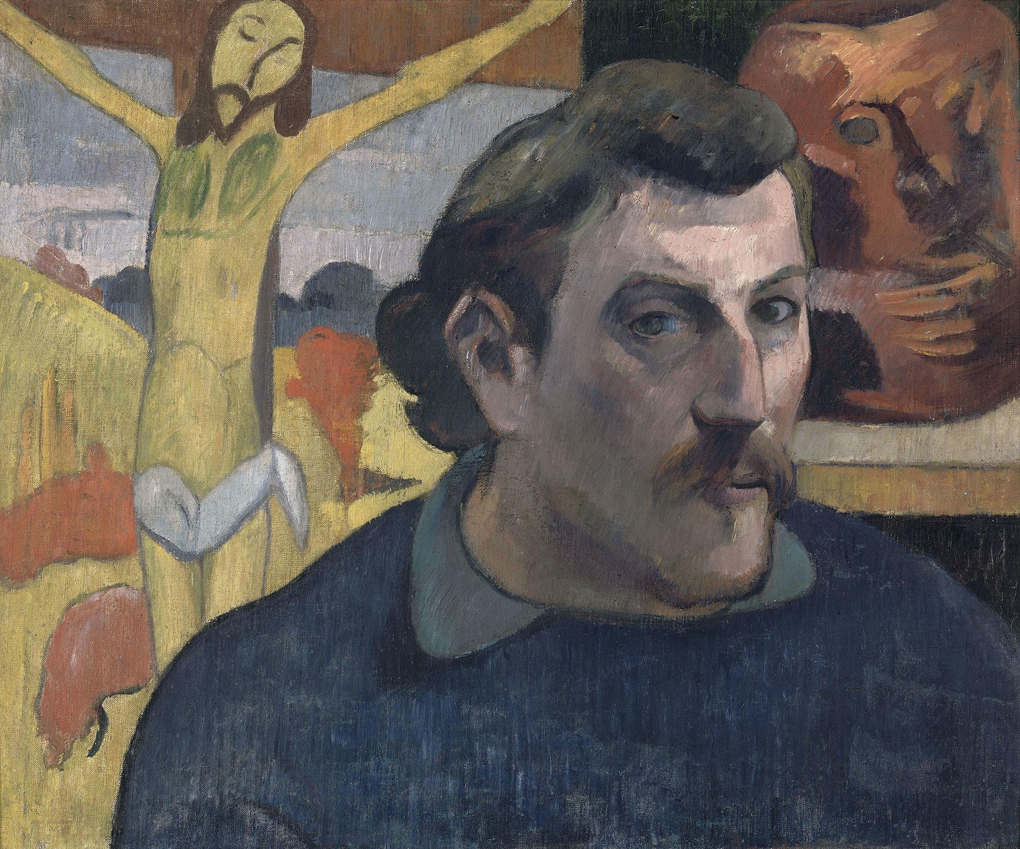 ポール・ゴーガン 《「黄色いキリスト」のある自画像》 1890-1891年 油彩/カンヴァス © RMN-Grand Palais (musée d'Orsay) / René-Gabriel Ojéda / distributed by AMF