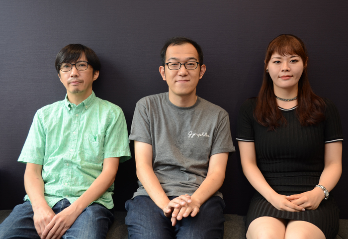 菅原永二、上田誠、川面千晶(左から)