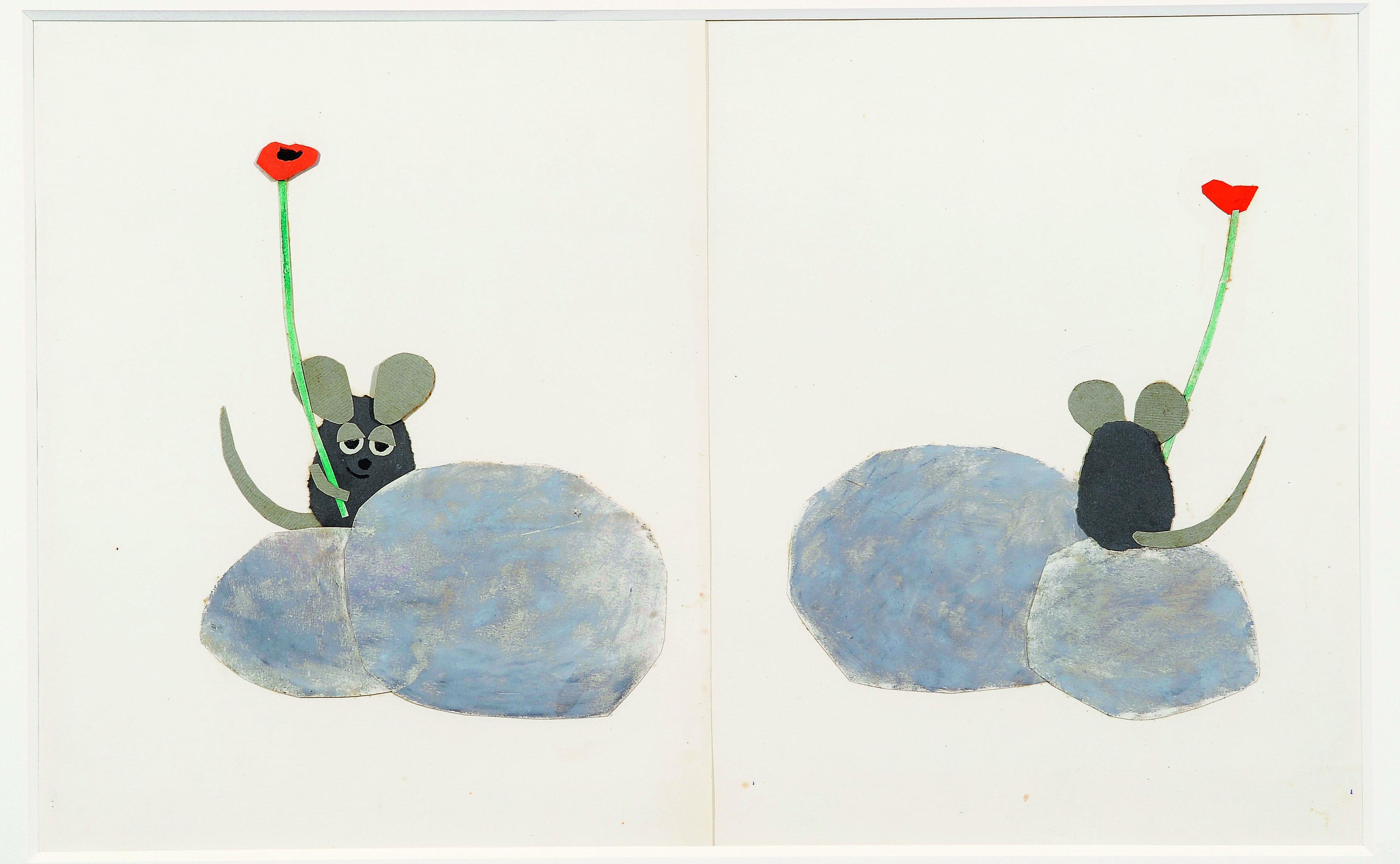 「フレデリック」 1967年 水彩、パステル、コラージュ、紙 51×63.6cm Frederick (C)1967, renewed 1995  by Leo Lionni / Pantheon Works by Leo Lionni, On Loan By The Lionni Family
