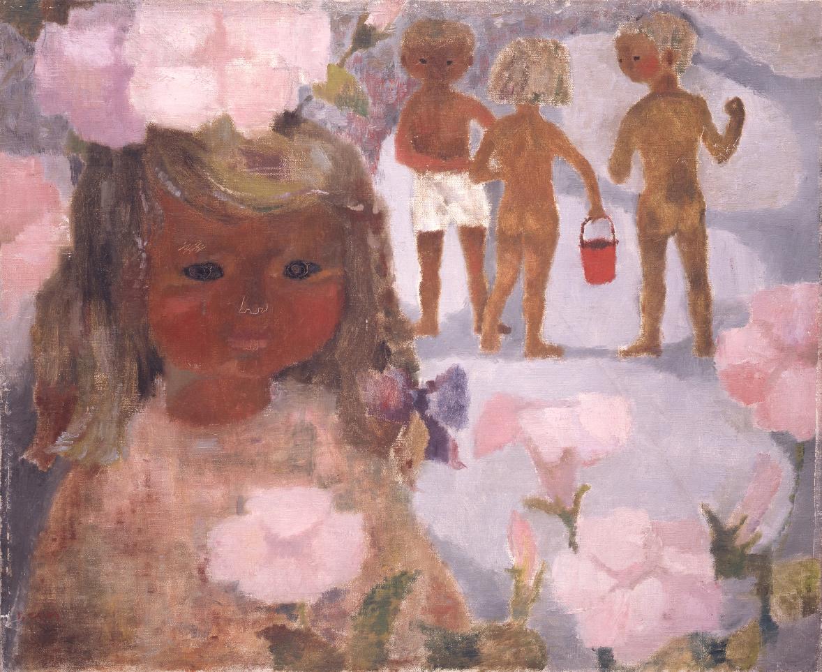 ハマヒルガオと少女 1950年代中頃 ちひろ美術館蔵