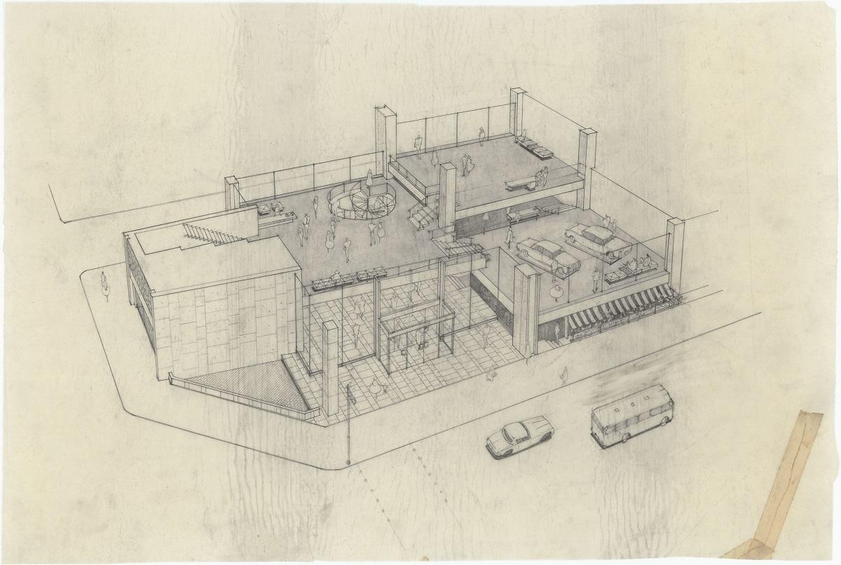 「ソニービル新築工事(フロアー透視図)」 1965年頃