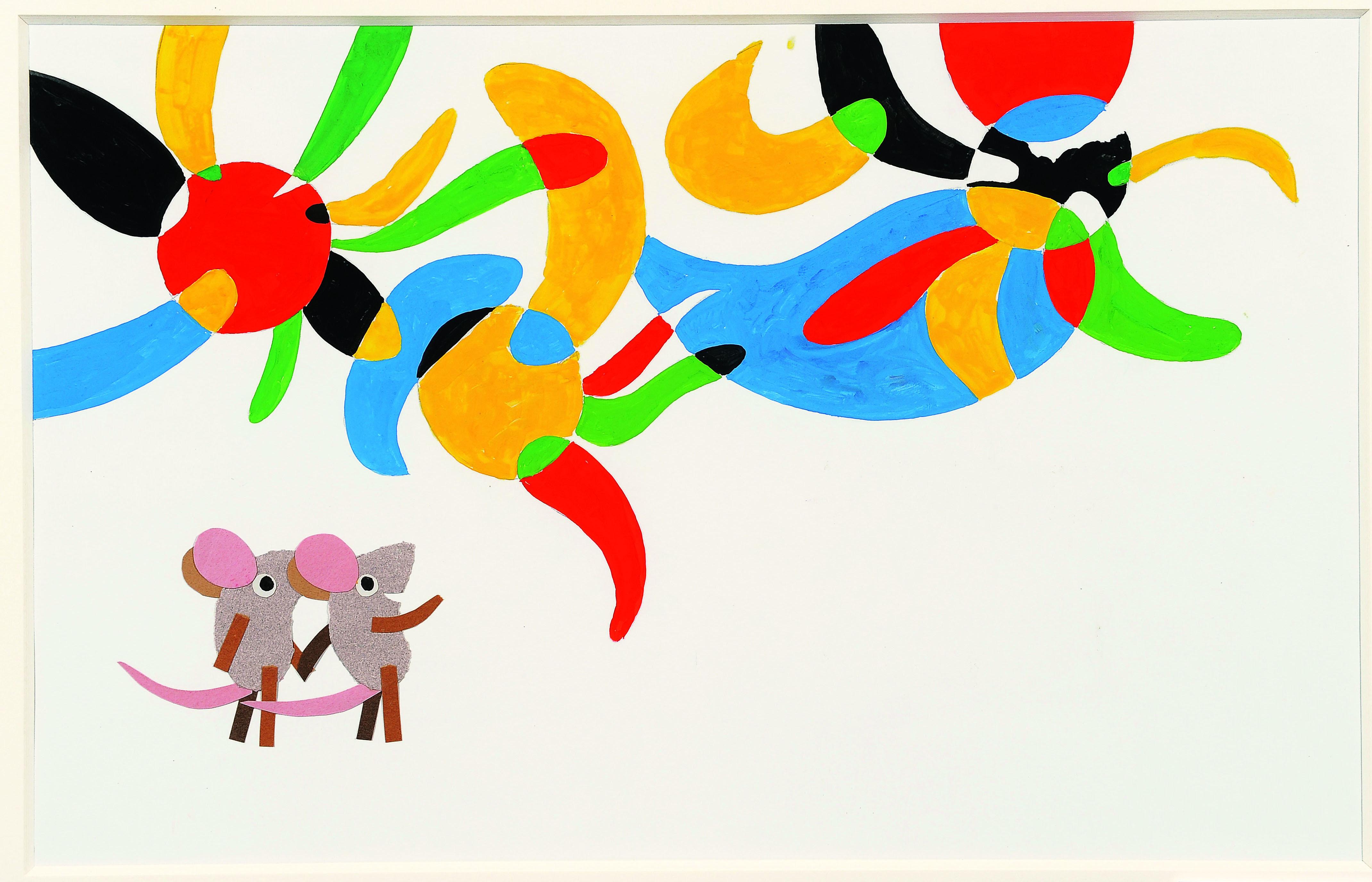 「マシューのゆめ」 1991年 鉛筆、水彩、コラージュ、紙 51×63.6cm Matthew' s Dream (C)1991  by Leo Lionni / Knopf Works by Leo Lionni, On Loan By The Lionni Family