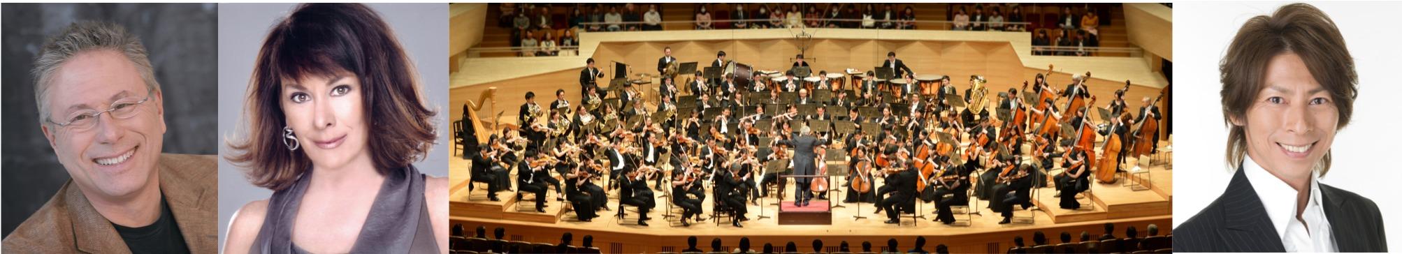 (左から)アラン・メンケン、ペイジ・オハラ、 THE ORCHESTRA JAPAN(オーケストラ)、 ささきフランチェスコ(ナビゲーター)