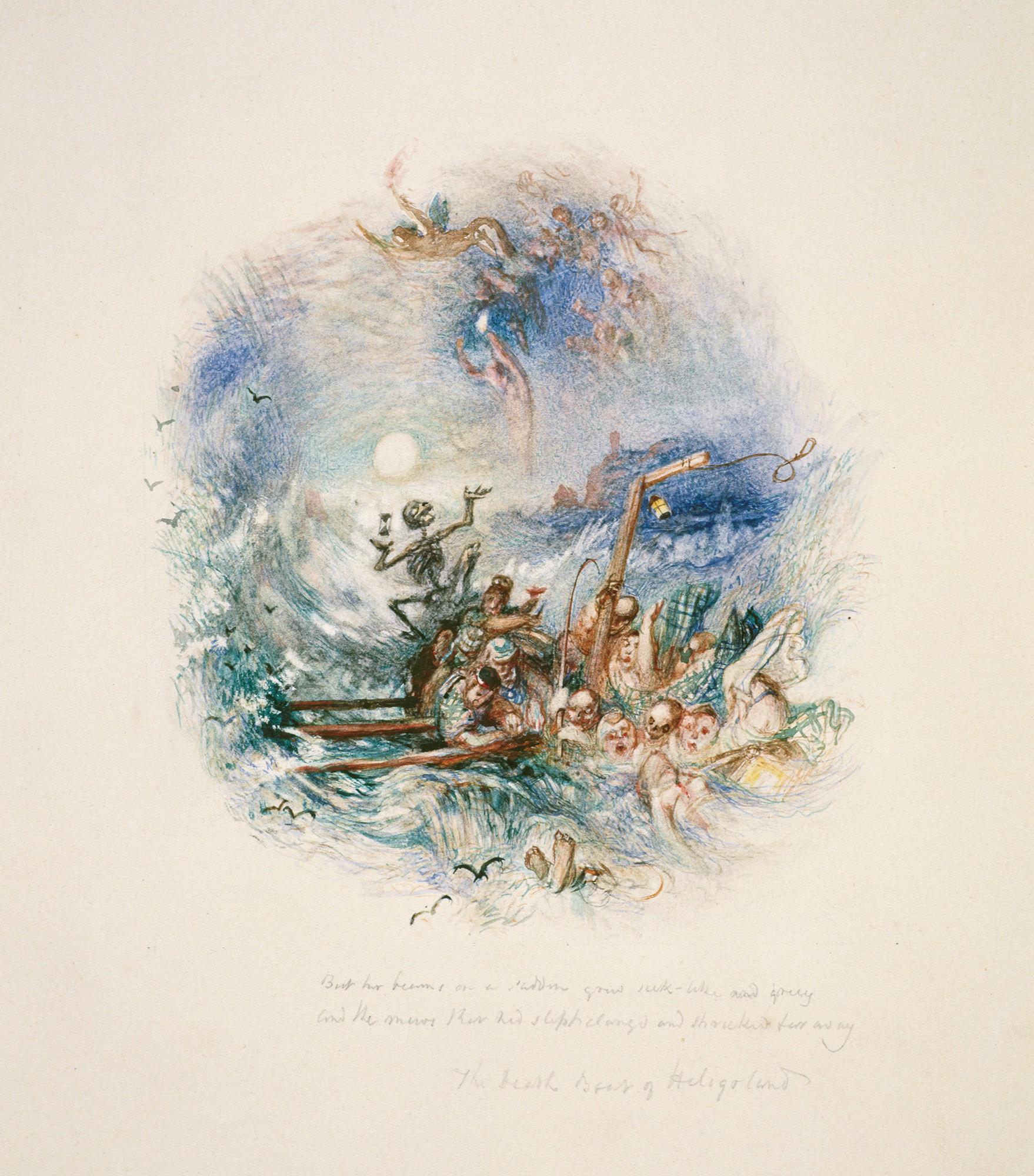 《20ヴィニェットのうちの1点-ヘルゴラントの死の舟》 1835年頃 水彩、鉛筆・紙 13×12cm エディンバラ、スコットランド国立美術館群 (c)Trustees of the National Galleries of Scotland