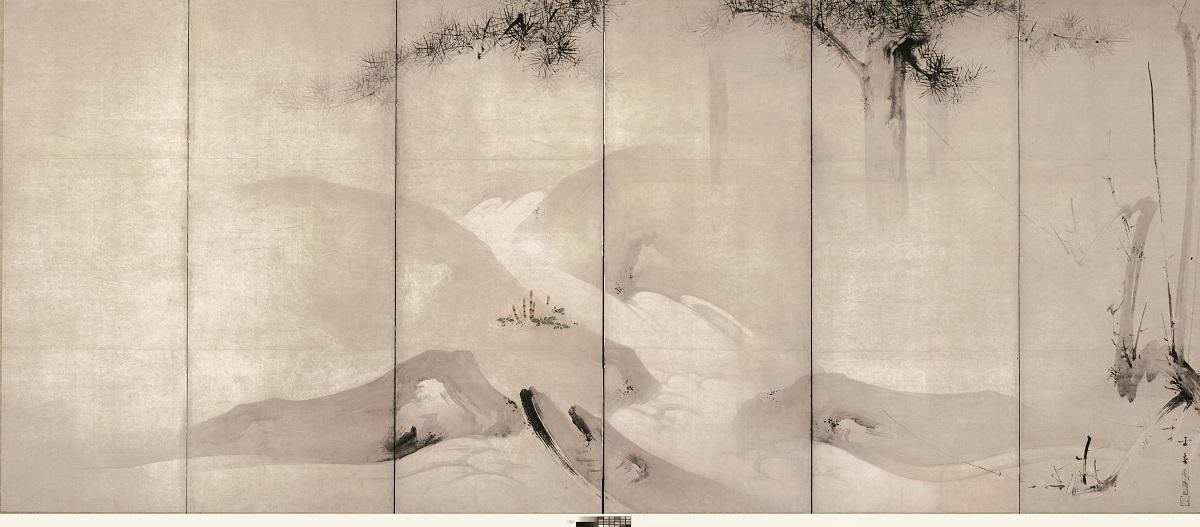 月下渓流図屏風(右隻) 海北友松筆 ネルソン・アトキンズ美術館(米国) 桃山時代 17世紀 通期展示  Photography by Mel McLean, courtesy of the Nelson-Atkins Museum of Art