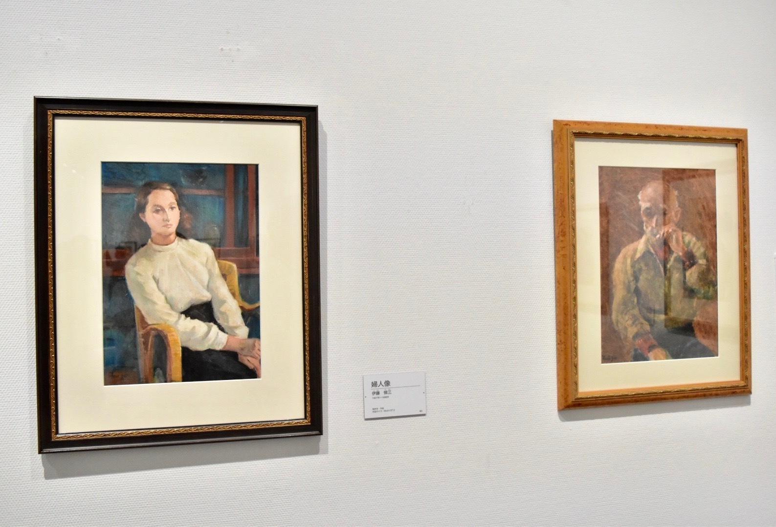 左:伊藤悌三 《婦人像》制作年不明 右:伊藤悌三 《老人》制作年不明