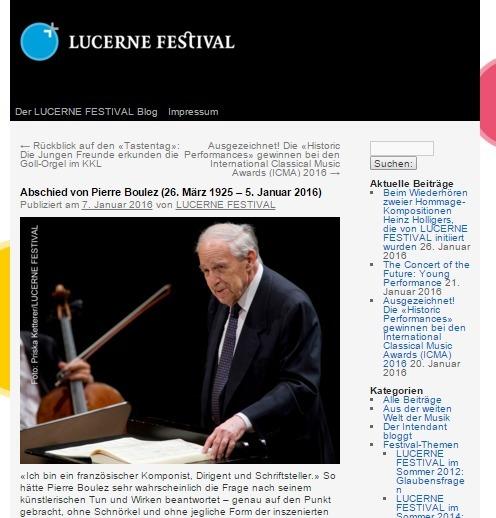 若者たちを指導していたブーレーズの死をルツェルン音楽祭は悼んでいる(公式サイトより)
