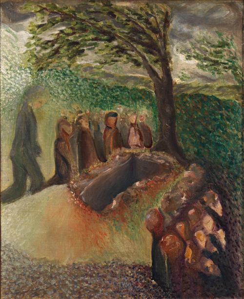 アルノルト・シェーンベルク《グスタフ・マーラーの埋葬》1911年 油彩/カンヴァス 43×34 cm ウィーン ・ミュージアム蔵 (C) Wien Museum / Foto Peter Kainz