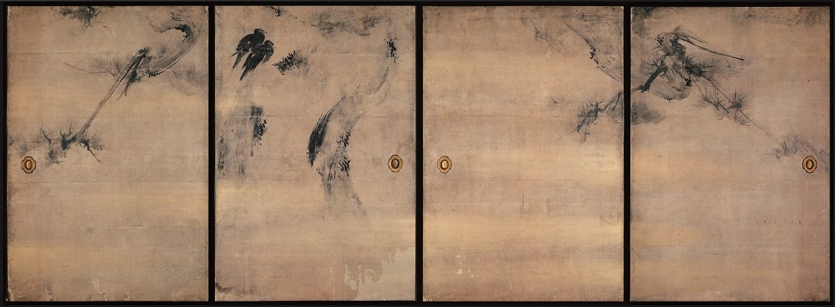重要文化財 松に叭々鳥図襖 海北友松筆 禅居庵(京都) 慶長2年(1597) 京都・妙智院蔵 後期展示(5/2~5/21)
