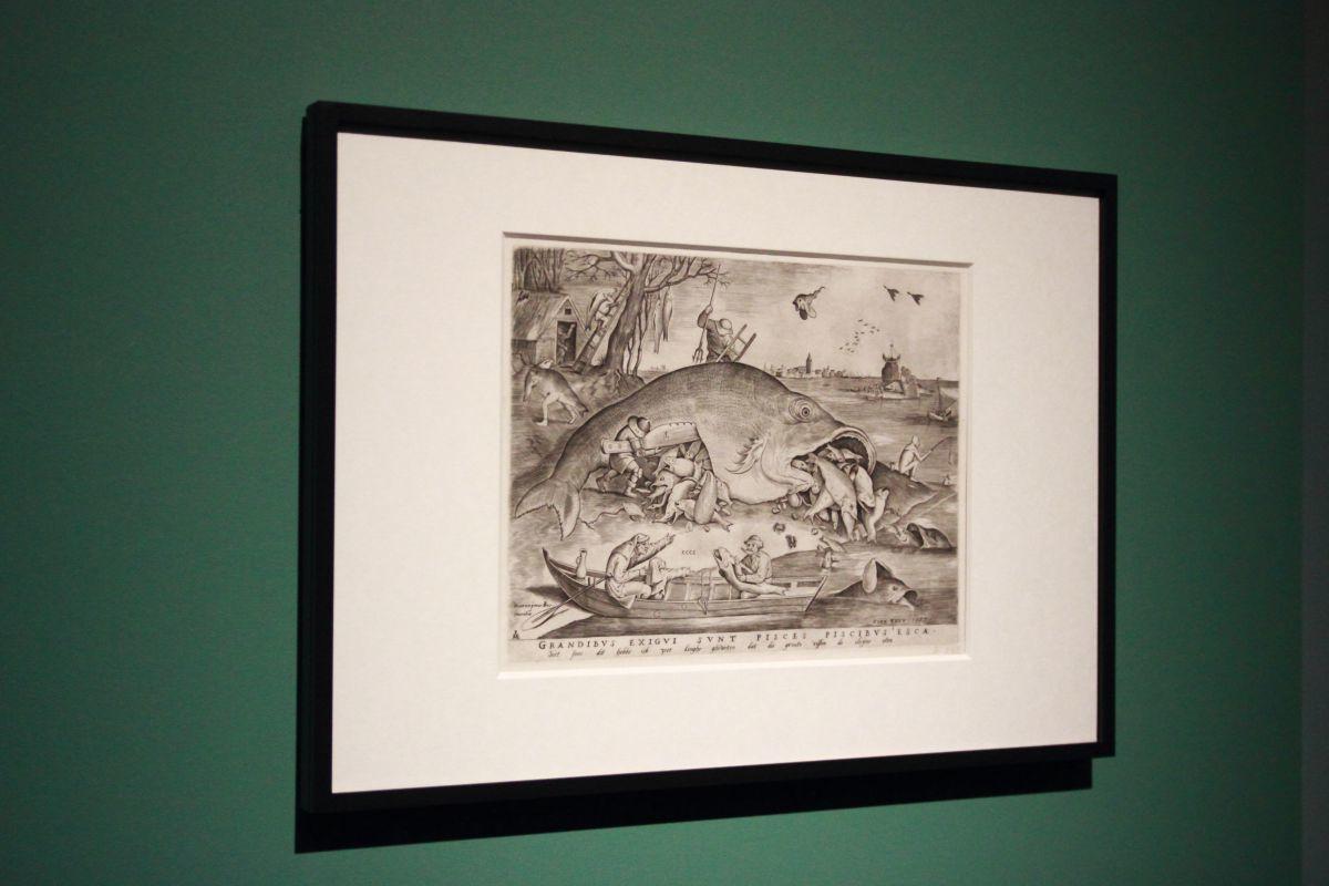 ピーテル・ブリューゲル1世、彫版:ピーテル・ファン・デル・ヘイデン《大きな魚は小さな魚を食う》1557年、エングレーヴィング